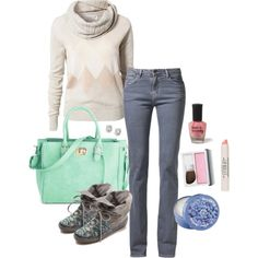 """""""Aurora lights."""" Comfy pastels winter school outfit"""