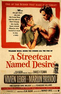 """A Streetcar Named Desire"" / Director: Elia Kazan / Writers: Tennessee Williams (screen play), Oscar Saul (adaptation) / Stars: Vivien Leigh, Marlon Brando, Kim Hunter Tennessee Williams, Vivien Leigh, Janet Leigh, Marlon Brando, Old Movies, Vintage Movies, Great Movies, Vintage Posters, Movies Free"