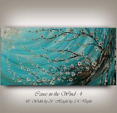 Huge Art ORIGINAL ABSTRACT PAINTINGS Oil Birch Tree Art sale Floral Abstract art Turquoise Blue Flower Art Original fine art By Nandita