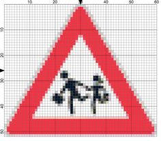 Stitch a School Crossing Sign for Back to School: Day 230 of the 365 Needlepoint New Year's Resolutions Challenge