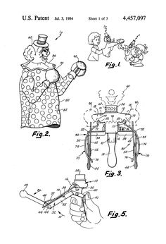 "1984 patent drawing for ""Boxing"" hand puppets (the patent lapsed in 1992). This was based in part on toy boxing figures invented in the 1930s."