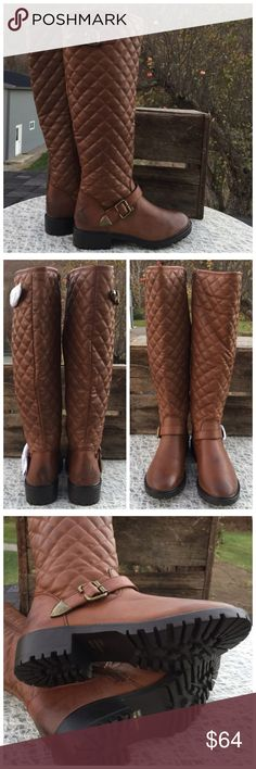 """The WALSH Cognac Antique Tone Brushed Burnt Design Cognac Faux Leather, Fully Lined Shaft, Quilted Design... Riding Boot, Named The WALSH. Size 7 Single Ankle Belt, Antique Tone Buckle Design. Full length Inside Zipper. MEASUREMENTS: 7.5"""" Flat Across Calf 18.25"""" Tall including 1.5"""" Heel. These boots are a brushed Burnt design at back heel and Toe. NEW. Sorry about the wrinkles from shipping. I have also listed these in Chocolate Brown and Black . Thank you for browsing my closet. Shoes…"""