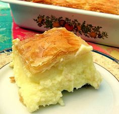 ... custard made from semolina flour and a crispy phyllo shell and soaked