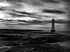 new brighton lighthouse in Black and white