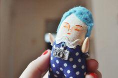 Miniature doll, little blue boy with photo camera, magical, handmade stuffed toy, ooak, 4 x 1.7 inches, handpainted art doll, tiny boy by Mandarinas De Tela #MandarinasDeTela
