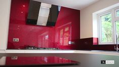 """Red Textured Sparkle is another beautiful example from our """"Luxury Collection"""" Exclusive Designs made using only raw materials applied to the back of toughen. Glass Splashbacks, Quality Kitchens, Glass Kitchen, Work Tops, Cool Kitchens, Sparkle, Bathroom, Luxury, Red"""