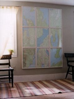 Separating this large map into smaller frames makes the art seem more intentional. (Martha Stewart Living, August 2002)