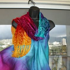 Silk velvet wrap or scarf. akaisilks on artfire.com