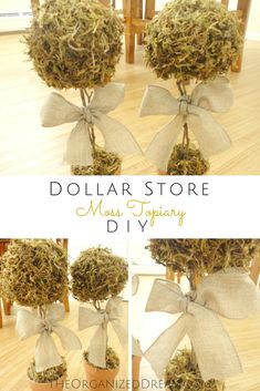 Stop by the blog to learn how easy it is to make your own moss topiaries using dollar store craft supplies! $7+1 hour=Awesomeness!