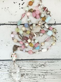 Swag~upcycled beaded extra long necklace, vintage and new glass beads, shabby…