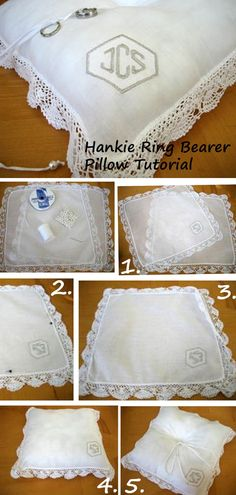 DIY Hankie Ring Bearer Pillow made out of handkerchiefs.  So easy to make. http://bumblebeelinens.com