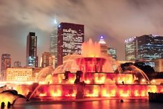 Photo about Chicago skyline with skyscrapers and Buckingham fountain in Grant Park at night lit by colorful lights. Image of architecture, america, buckingham - 23792284 Chicago Murals, Nursing Online, Buckingham Fountain, Lpn Programs, Grant Park, Chicago Skyline, Lake Michigan, Night Light, Skyscrapers