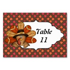 Thanksgiving Turkey Table Number card Table Card