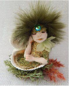 Green Sea Nymph Mermaid in Double Shell OOAK by britpoprose99