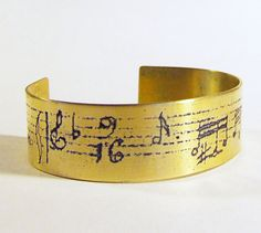 Etched Brass Cuff Musical Notes by AmongTheRuins on Etsy