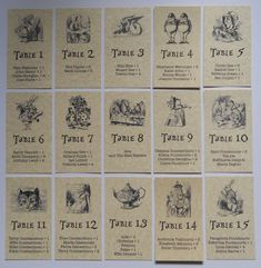 DIY ALICE IN WONDERLAND CHARACTER WEDDING TABLE PLAN PIECES VINTAGE RUSTIC THEME in Home, Furniture & DIY, Wedding Supplies, Cards & Invitations | eBay
