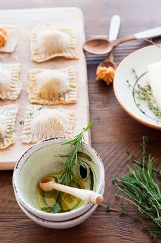 Pumpkin Ravioli with Brown Butter, Rosemary & Thyme
