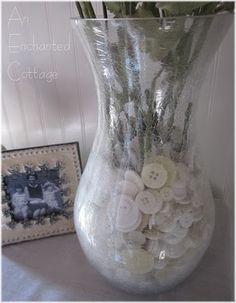Buttons as a vase filler.