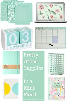 Pretty Office Supplies :: in a Mint Mood - Penelope Loves Lists - Pretty Office Supplies :: in a Mint Mood – Penelope Loves Lists Pretty Office Supplies :: in a Mint Mood Office Color, Mint Office, Office Style, Home Office Design, Home Office Decor, Office Decorations, Office Ideas, Office Inspo, Desk Ideas
