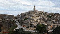 Sassi+di+Matera-paesaggio Paris Skyline, Digital, Travel, Painting, Viajes, Painting Art, Paintings, Trips, Painted Canvas