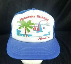 13fe4f8724a Vtg Walking Beach Hawaii Hat Trucker Mesh Snapback Vacation Cap  FarEastern   TruckerHat