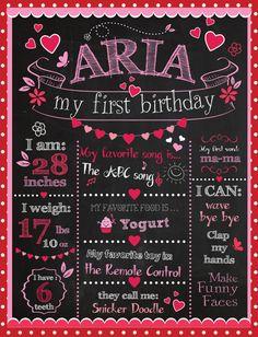 Valentine Customizable Printable First Birthday by BlackCatsMedia, $15.00