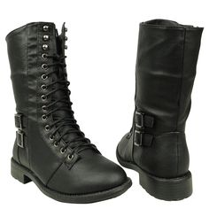 Women's Mid Calf Casual Comfort Lace Up Combat Boots US Size 5.5-10 Black, winter boots style fashion cute pretty