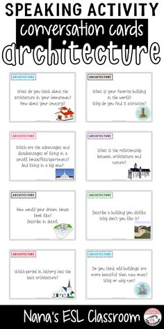 Conversation starters about architecture Activities For Teens, English Activities, Writing Activities, English Teaching Materials, Teaching English, English Lessons, Learn English, Conversation Cards, Conversation Starters