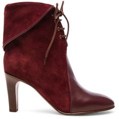 Chloe Suede Kole Ankle Boots ($470) ❤ liked on Polyvore featuring shoes, boots, ankle booties, ankle boots, booties, chloe, lace up ankle booties, high heel boots, suede booties and short boots