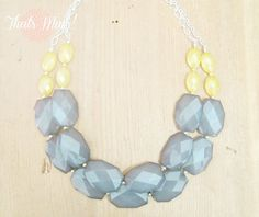 Grey and Yellow Necklace Yellow and Grey by ThatsmineBoutique, $40.00