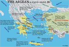 Aegean 1300-1200 BCE: text descriptions blend historical with mythical information.--Set the Ancient Greek myths and epic adventures in context with this map of where each story was located.