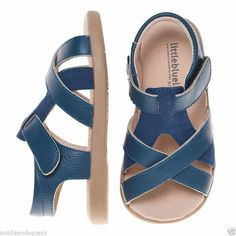 Little Blue Lamb Boys Infant Blue Strap Leather Toddler Sandals / Shoes