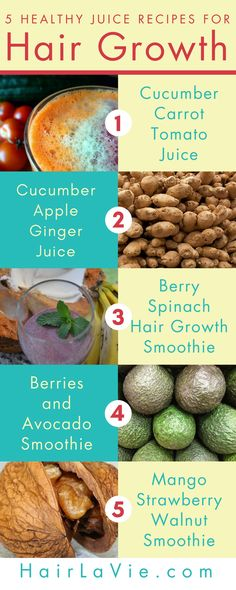 5 Healthy Juice Recipes for Hair Growth ........................................ Boost your hair growth with these healthy juices. Maintaining a healthy diet is probably one of the best things you can do for hair growth. Juicing for hair growth can provide your follicles with the vitamin-C, iron, zinc and B-vitamins they need to stop from shedding, and can also increase your hair's growth.