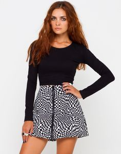 Buy Motel Amy Front Zip Mini Skirt in Square Eyes Print. at Motel Rocks