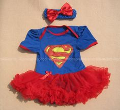 Baby Supergirl Superman Newborn Infant Headband+Romper Tutu Dress outfit sets #Unbranded #EverydayHoliday