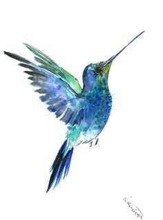 Emerland Hummingbird painting, 12 x 9 in,bright color flowers, hummingbird wall art,  bird art, Asian style hummigbird design lover gift by ORIGINALONLY on Etsy
