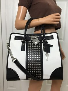 Michael Kors Hamilton Center Stripe Studded Large Leather Tote Purse Black White....... I want this ........