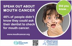 LIKE and SHARE to raise awareness: Mouth Cancer Action Month Did you know? 46% of people didn't know they could ask their dentist to check for mouth cancer. #MCAM #MouthCancer #DidYouKnow #Dentist http://www.mouthcancer.org/page/health-professionals