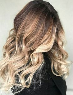 Balayage is suitable for light and dark hair, almost all lengths except very short haircuts. Today I want to show you the most popular Brunette Balayage Hair Color Ideas. Balayage has become the biggest trend in recent seasons, and it's not over yet. Ombre Hair Color, Blonde Color, Hair Colors, Brunette Color, Brunette Updo, Brown Hair Fading Into Blonde, Blond Brown Hair, Long Blond Hair, Blonde Highlights On Dark Hair All Over