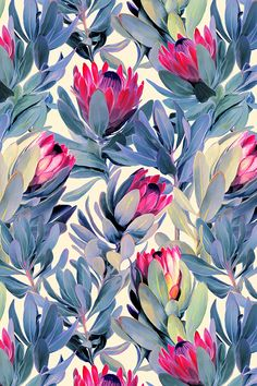 Painted Protea Floral - magenta and grey by micklyn - Green and jade leaves with pink flowers on a cream background on fabric, wallpaper, and gift wrap.