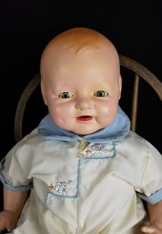 """Vintage Doll Baby Horsman Dimples Large Life Size 22"""" Comp & Cloth Boy Doll Cute 
