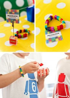 Lego Madness Party - Bracelets and stenciled t-shirts