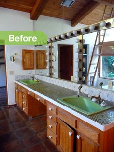 """BEFORE: """"Green sinks. That's what I had to work with,"""" Jay says. The house hadn't been updated since its construction 40 years ago"""