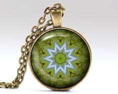 Unique Hippie necklace. Gorgeous Mandala jewelry in bronze or silver finish. Amazing Esoteric pendant with a chain or a leather cord. SIZE: 25 mm (1
