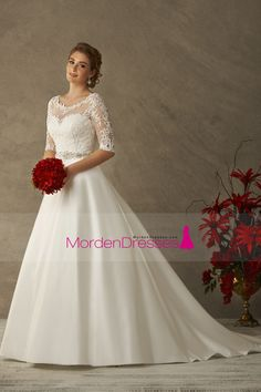 2016 Mid-Length Sleeve Wedding Dresses Scoop Satin With Applique