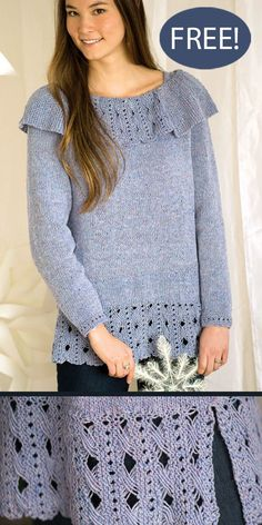"""Free Frosted Glass Sweater Knitting Pattern An eye-catching lattice lace pattern adorns the hem and collar of this easy-to-wear pullover. The loose fit and long silhouette can be paired with anything from jeans to leggings for a sweater that will easily take you from day to night. Sizes Bust: 30½ (34¾, 38½, 43¼, 47½)"""" DK weight yarn. Designed by Jill Wolcott"""
