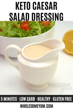 Homemade Keto Caesar Salad Dressing Recipe Homemade Keto Caesar Salad Dressing Recipe – 5 minutes + 6 ingredients to the BEST Caesar dressing recipe ever – it tastes great on everything! See how to make keto Caesar dressing with 0 net carbs. Diet Salad Recipes, Salad Dressing Recipes, Homemade Healthy Salad Dressing, Low Calorie Dressing Recipe, Healthy Caesar Dressing Recipe, Best Salad Dressing, Salad Dressings, Caesar Salat, Sauces
