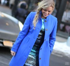 Every girl loves a fun sequin number, and I absolutely adore the twist Karen Kane put on this one with a ombre-esk effect. The combination of blues + greens played out perfectly for a pop of color with my trusty cobalt coat and heels.