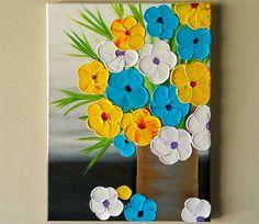 Original Acrylic Flower Vase painting Flowers in by ArtByRangrez