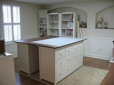 DIY cutting table: two Ikea HEMNES dressers. Dream cutting table, wish I had the space Sewing Room Design, Craft Room Design, Sewing Spaces, My Sewing Room, Sewing Studio, Sewing Rooms, Sewing Room Organization, Craft Room Storage, Craft Rooms